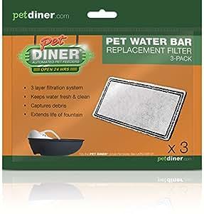Pet Diner Pack de 3filtres de remplacement pour fontaine à eau Pet Diner Water Bar