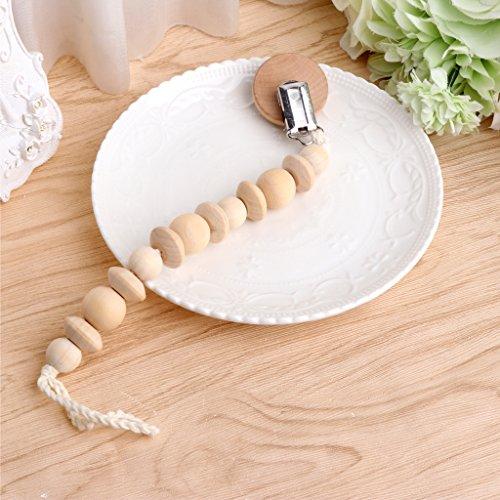Kimnny Baby Schnullerkette, Baby-Schnullerhalter, mit Perlen aus Holz, für das Stillen