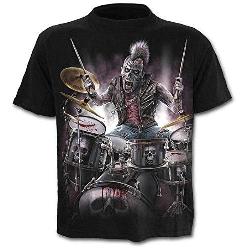 Shirt - Shirt - Shirt - 3D - Kurze Ärmel - Männer - Frauen - Unisex - Lustig - Geschenkidee - Zubehör - Cosplay - Maskerade - Schädel - Rock - Metal - Musik - Gotik ()
