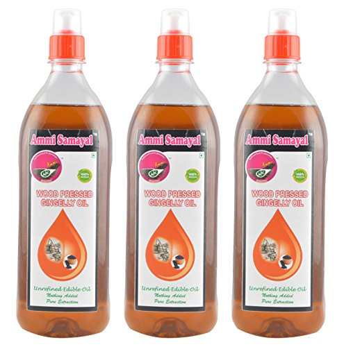 Ammi Samayal Wood Pressed (cold press) Gingelly Oil, 1 L (Pack of 3)