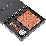 Geldbörse und Leder-Uhren, Set für Jungen, Freund, Quarz-Armbanduhr für Herren, Braun Leder Geldbörse für Vater und Ehemann