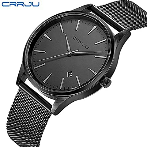 Herren Uhren Casual Analog Quarz Kleid Armbanduhr mit schwarz Edelstahl Mesh Armband (Weihnachtsförderung)