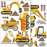 Pegatinas para la pared Wandkings «Máquinas de construcción» - Juego de adhesivos de 30 unidades en 2 hojas DIN A4