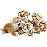 """Nacional Geographic """"salvajes del bebé PERRITOS 2"""" Los animales de peluche de juguete de felpa (4 piezas, Natural)"""