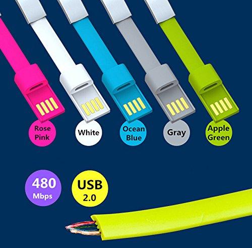 Infinite U Unique Bracelet Légère Type Magnétique USB Chargeur Portable et Câble de Données pour Android Mobile Phone Samsung HTC Nokia Blackberry HUAWEI ZTE -6 Options de Couleur (Avec Sac Cadeau) Gris