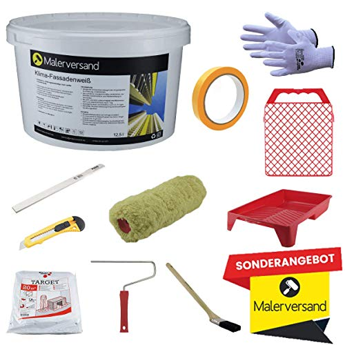 Malerversand Fassadenanstrich - Starter-Set - Renovierungsset - qualitativ hochwertiges Malerset