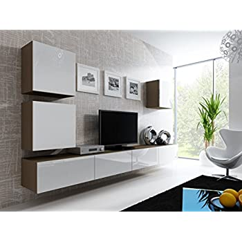 wohnwand mediawand wohnzimmer schrank fernseh schrank tv lowboard wei eiche hell. Black Bedroom Furniture Sets. Home Design Ideas