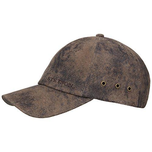 Stetson Rawlins Pigskin Basecap (Vintage-Look) Herren/Damen ? Verstellbar (Strapback ca. 55-61 cm) - Baseballcap aus Leder (Schirmlänge 7 cm) ? Mit Baumwollfutter - Sommer/Winter Dunkelbraun One Size