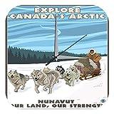 LEotiE SINCE 2004 Wanduhr mit geräuschlosem Uhrwerk Dekouhr Küchenuhr Baduhr Weltenbummler Kanada Arktik Acryl Dekouhr Nostalgie