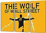 The Wolf of Wall Street 3teilig im Gesamtmaß 120x80 cm, Leinwandbild auf Holzrahmen gespannt, Leinwandbild, 1A Qualität zu 100% Made in Germany! Kein Poster Kein Plakat! Echtholzrahmen mit beigelieferten Zackenaufhängern. Fertig bespannt, Sofort dekorieren.