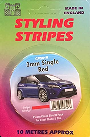 3mm Single Red Pin Stripe 10 Metres Car Van Bike Caravan Auto Coach Line Styling Vinyl Adhesive