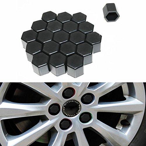 20 caches en silicone Moyeu de roue de voiture 17 mm Écrous jantes Ergots Boulons Vis couvertures de rouille Noir