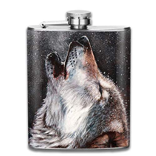 Snow Wolf Wine Water Hip Flask for Liquor Stainless Steel Bottle Alcohol 7oz