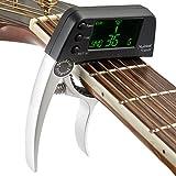 Cejilla afinadora de guitarra eléctrica 2 en 1 con pantalla LCD, afinador de cebo profesional apto para guitarra acústica o folk, banjo, ukelele, guitarra clásica