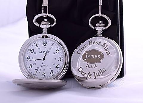 (FBA) gravé Best Man badge Argent montre de poche en boîte cadeau pour mariage