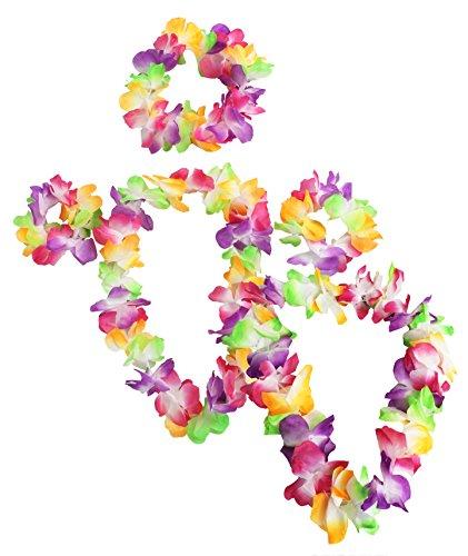 Set-de-4-piezas-collar-de-45-cm-y-pulsera-de-guirnalda-de-de-flores-Disfraz-de-hawaiana