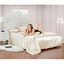 Satén de seda de imitación 6pcs completo conjuntos de ropa de cama funda de edredón de sábana bajera/Double Y King Tamaño (Crema), beige, doble