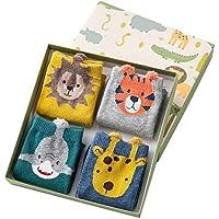 Navidad 2018,Calcetines Navidad Set,Dibujos Animados Animales lindos Calcetines de algodón, 4 Pares Calcetines para Niños y Caja de Regalo de Navidad