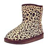 Yiiquan Damen Leopard Print Stiefeletten Winterstiefel Warm Winter Boots Retro Flache Stiefel Snow Schuhe Leopard 36