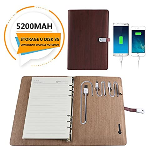 Mobile Power Notebook - 4 in 1 Leather 6000mah Mobile