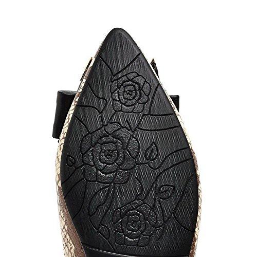 VogueZone009 Damen Ziehen Auf Niedriger Absatz Pu Leder Spitz Zehe Flache Schuhe Aprikosen Farbe