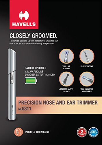 Havells NE6311 Battery Operated Nose and Ear Trimmer (Grey)