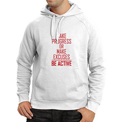 """Kapuzenpullover """"Be Active - Leben ohne Ausreden"""" - Motivation - inspirierend tägliche Angebote für Erfolg (XX-Large Weiß Magenta)"""