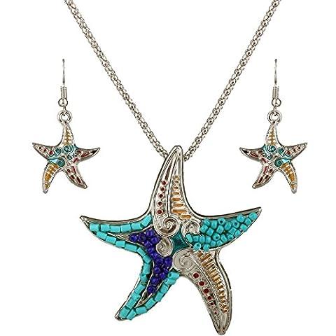 Women Starfish Measle Beads Pendant Chain Necklace Dangle Earring Jewelry Set