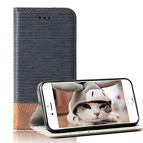 TechCode iPhone 6 Plus 5,5 Zoll Hülle, Tasche iPhone 6s Plus PU Leder Brieftasche Hüllen Schlag Mappen Kasten Abdeckung iPhone 6 Plus 5,5 Zoll (iPhone 6 Plus/iPhone 6s Plus, Blau)