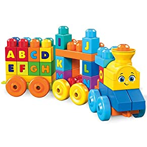 Mega Bloks Tren musical ABC, juguete de construcción para bebé +1 año (Mattel FWK22)