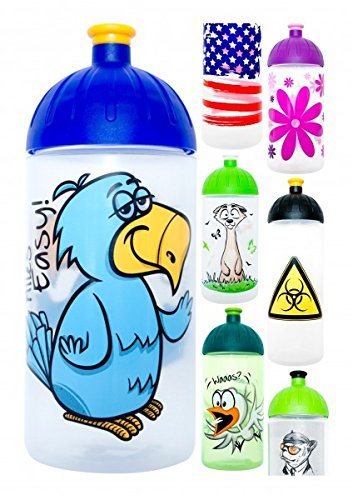 Preisvergleich Produktbild ISYbe Trinkflasche 500ml Vogel-Easy,  weiß-transparent,  schadstofffrei,  spülmaschinengeeignet,  auslaufsicher