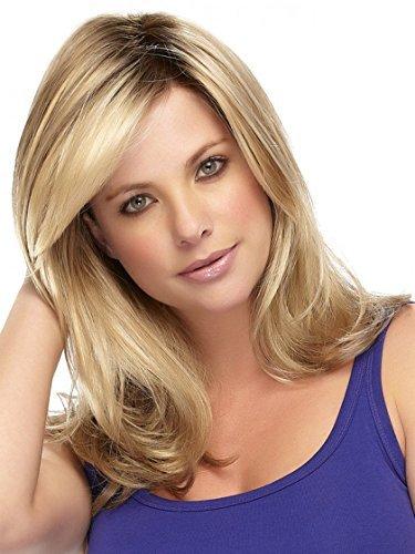 Kalyss lange lockige Wellenförmige Perücken Dunkle Wurzeln Goldene Blonde Haare als echte Haarperücke für Frauen