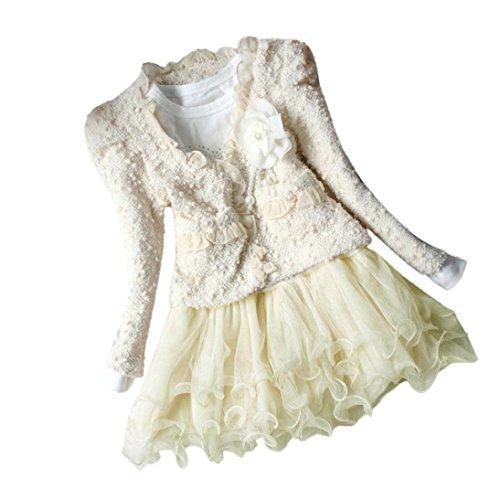 Bekleidung Longra Baby Kleinkind Mädchen mantel Anzug + lange Ärmel Kleider Set Splice Kinder Mädchen Kleidung(2-5Jahre) (80CM 2Jahre, (Mädchen Turnanzug Beige Kostüme Langarm)