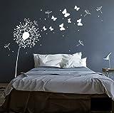 Wandtattoo Wandaufkleber Aufkleber Pusteblume mit süßen Schmetterlingen M1348 - ausgewählte Farbe: *Schwarz* ausgewählte Größe:*XS 140cm breit x 120cm hoch