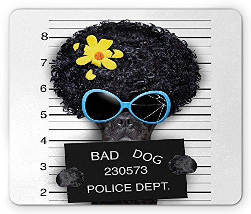 spad, Becher Schuss von Hippie Wollte Hund kriminellen Welpen Afro Boxer Gangster Gefängnis Humor Thema, Standardgröße Rechteck Rutschfeste Gummi-MousePad, Schwarz Gelb ()