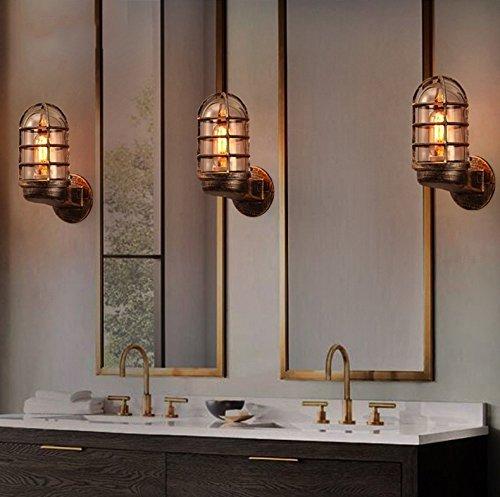 CWJ Lampe-Wandlampe dekorative Lichter Schlafzimmer Gang Vintage Glas Schatten Eisen Wand kreative Restaurant Restaurant Coffee Bar Gang s Wand Haushalt Licht - Eisen-wand-schatten