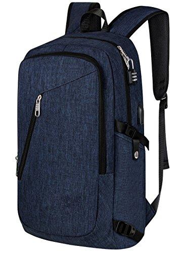Wasserdichter Laptop-Rucksack, Anti-Diebstahl-Reise-Rucksäcke mit Kopfhörer-Hafen, USB-aufladenhafen und Verschluss, passt 15 15.6 Zoll Laptop und Notizbuch Blue