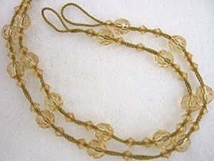 2 X GOLD BEADED CURTAIN TIE BACKS TIEBACKS