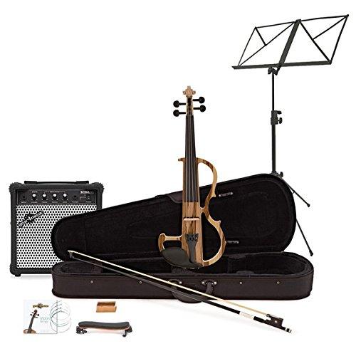 Violino Elettrico di Gear4music Naturale con Pacchetto Amplificatore
