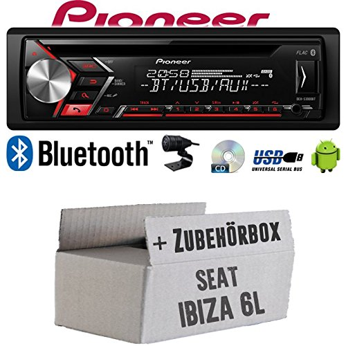 Autoradio Radio Pioneer DEH-S3000BT - Bluetooth | CD | MP3 | USB | Android Einbauzubehör - Einbauset für Seat Ibiza 6L - JUST SOUND best choice for caraudio