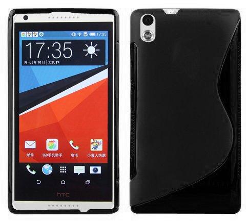 Cadorabo Hülle für HTC Desire 816 Hülle in Handyhülle aus flexiblem TPU Silikon im S-Line Design Silikonhülle Schutzhülle Soft Back Cover Case Bumper Oxid Schwarz