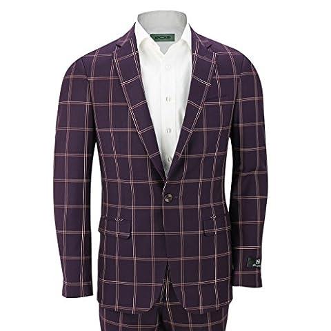 2pièces pour homme style vintage grande fenêtre Grille Drap-housse Carreaux Prune pour Smart Casual Blazer Pantalon pour homme - violet - Poitrine 46, pantalon 76 cm