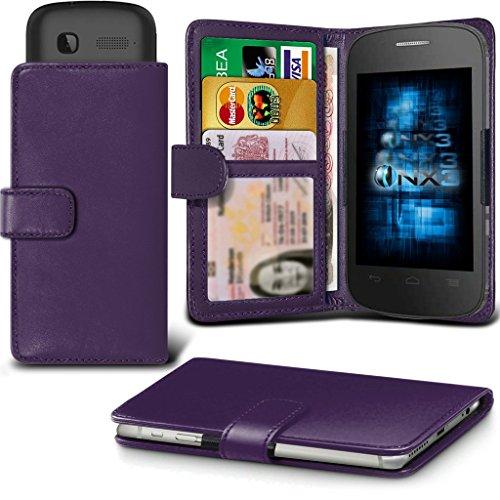 (Dark Purple) Alcatel Idol 3C Hülle Abdeckung Cover Case schutzhülle Tasche Verstellbarer Feder Mappe Identifikation-Kartenhalter-Kasten-Abdeckung ONX3