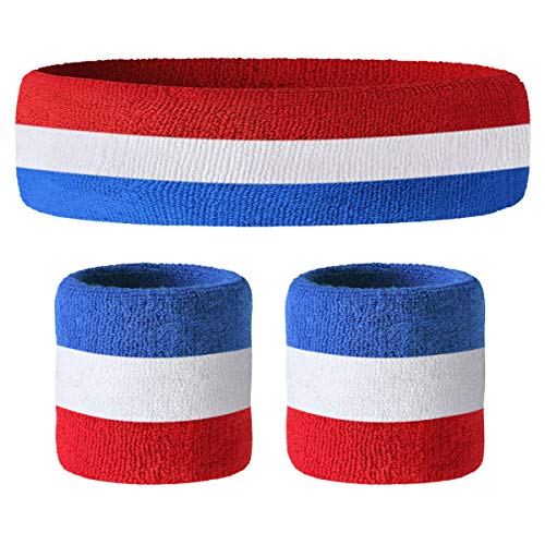 John McEnroe Style US / UK Colours Sweatband Set