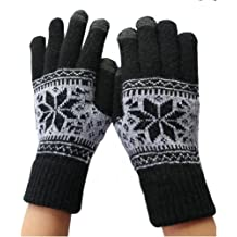 Guanti touchscreen, puntando SMS fiocco di neve multiuso guanti unisex in cotone per iPhone iPad Samsung Motorola Nokia HTC Sony smart phone Android Tablets M423, Nero