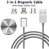 COCHING Magnetisches USB Ladekabel Datenkabel Typ-C Micro USB Lightning 3-in-1 Aufladen von Daten SYN Cord 3 Adapter mit 1 Metall Halter Packung für Android iPhone Geräte Nylon Geflecht (Silber)