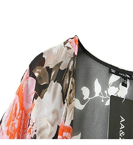Loveso-Damen Outwear Mäntel Jacke 1PC Vintage Retro Blumen lose Schal Kimono Boho Chiffon- Strickjacke-Mantel-Jacke Multicolor