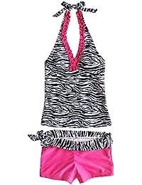 iEFiEL Mädchen Kinder Zebra 2tlg. Tankini Bikini Set Höschen Bademode  Badeanzug a6da8bf2c6