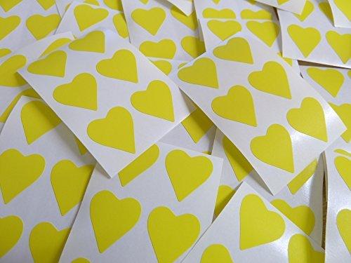 22x20mm Amarillo Con Forma De Corazón Etiquetas, 90 auta-Adhesivo Código De Color Adhesivos, adhesivo Corazones para Manualidades y Decoración