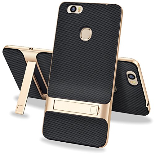 MOONCASE Huawei Honor Note 8 Hülle, Hybrid kratzfeste stoßdämpfende TPU +PC Bumper Frame Dual Layer Tasche Schutzhülle mit Ständer für Huawei Honor Note 8 (Schwarz Gold)